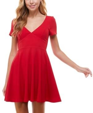 City Studios Juniors' V-Neck A-Line Dress
