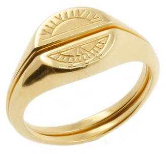 No 13 Solid Gold Sun & Moon Signet Rings