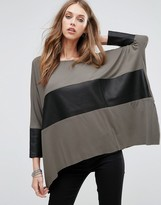 Replay Leather Look Panel Batwing Top