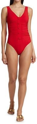 Karla Colletto Swim Billie V-Neck Button-Detail One-Piece Swimsuit