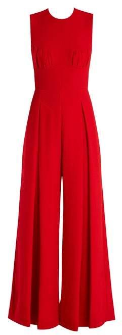 Emilia Wickstead Ethel Wide Leg Wool Crepe Jumpsuit - Womens - Red