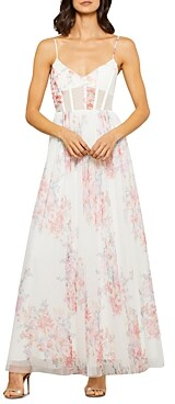 Bcbgmaxazria Floral Tulle Evening Gown
