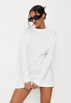 Missguided White Basic Long Sleeve T Shirt Dress