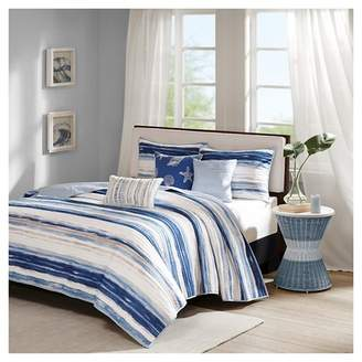 Nobrand No Brand Fairbanks Beach Striped Quilted Coverlet Set Blue - 6pc