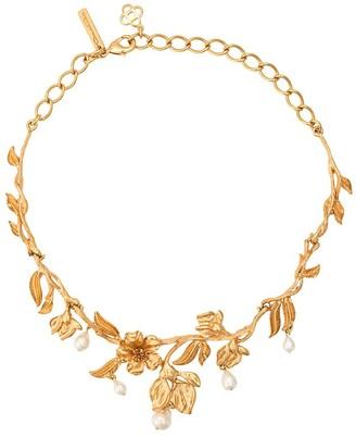 Oscar de la Renta Pearl Flower Necklace