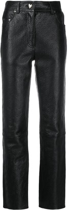 Saks Potts Leather Logo Embossed Trousers