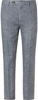Brunello Cucinelli - Blue Slim-fit Prince Of Wales Checked Slub Linen Trousers