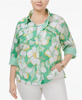 Alfred Dunner Plus Size Bahama Bay Collection Printed Layered-Look Shirt