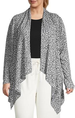 Bobeau Plus Leopard-Print Knit Cardigan