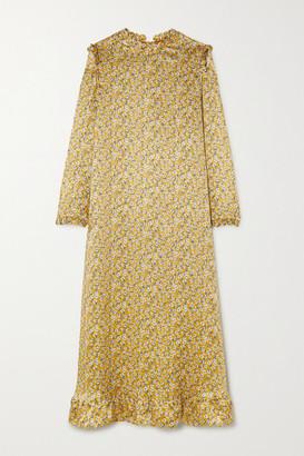 Horror Vacui Vestia Scalloped Floral-print Silk-satin Midi Dress - Saffron