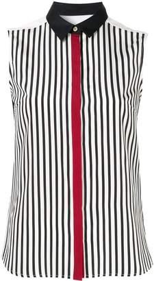 GUILD PRIME stripe panelled sleeveless shirt