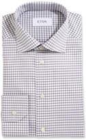 Eton Slim-Fit Box Check Twill Dress Shirt, Gray
