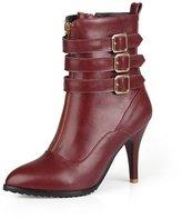 BalaMasa Womens High Heels Low Top Solid PU Winter Fashion Boots