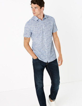 Marks and Spencer Slim Fit Easy Iron Cotton Floral Shirt
