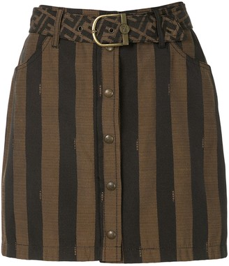 Fendi Pre Owned Striped Mini Skirt