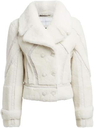 Alberta Ferretti Leather-Trimmed Shearling Peacoat