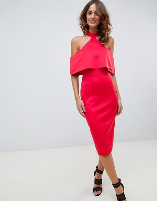 Asos Design DESIGN double layer halter midi pencil dress-Red