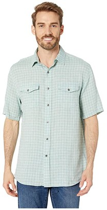 Pendleton Malone Linen Shirt (Turquoise Mini Plaid) Men's Short Sleeve Button Up