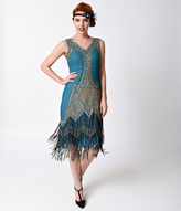 Unique Vintage 1920s Style Teal & Gold Embroidered Somerset Flapper Dress
