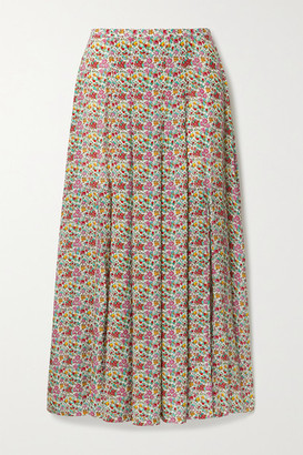 Rixo Georgia Pleated Floral-print Cotton And Silk-blend Midi Skirt - Light green