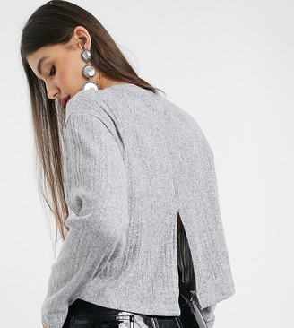Topshop Tall split back jumper in grey