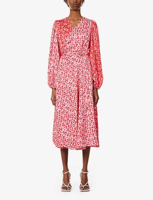 NEVER FULLY DRESSED Leopard-print satin midi wrap dress