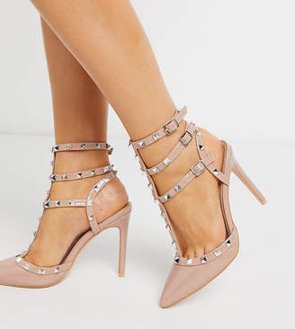 Public Desire Wide Fit Stush studded heeled court shoe in blush patent