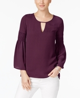 NY Collection Petite Bell-Sleeve Keyhole Top