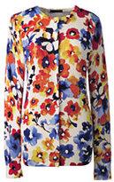 Classic Women's Supima Print Cardigan Sweater-Pewter Heather