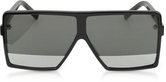 Saint Laurent New Wave 183 Shiny Black Acetate Betty S Sunglasses w/Mirror Lenses