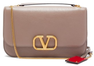 Valentino V-lock Leather Cross-body Bag - Womens - Grey