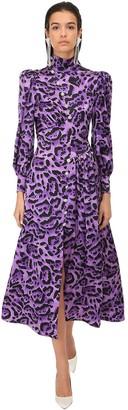Alessandra Rich Leopard Print Silk Satin Midi Dress