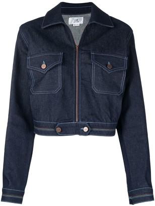 Victoria Victoria Beckham Colourful Stitching Zipped Denim Jacket