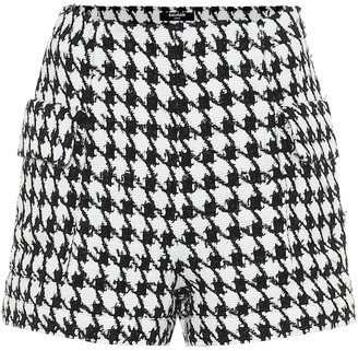 Balmain Houndstooth cotton-blend shorts
