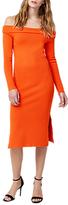 Warehouse Bardot Midi Dress, Orange