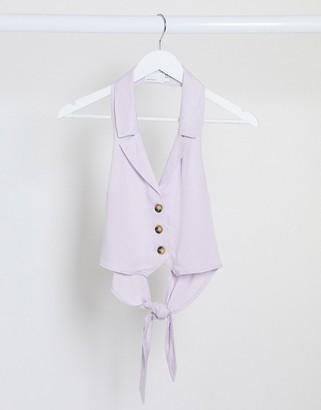 ASOS DESIGN soft suit suit vest in dusty lilac