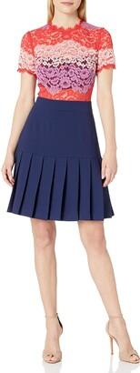 ABS by Allen Schwartz Women's Striped Lace Dress with Pleated Skirt