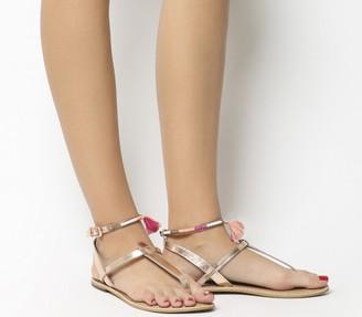 Office Salsa Tassel Ankle Strap Toe Post Sandals Rose Gold Leather Pink Trim