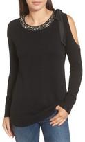 Halogen Women's Embellished Cold Shoulder Sweater
