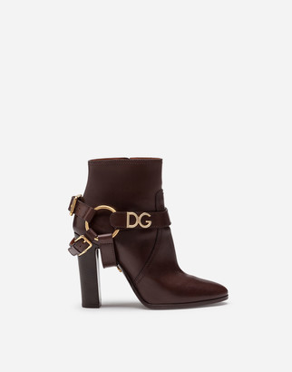 Dolce & Gabbana Ankle Boots In Cowhide With Bracket Logo
