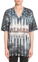 Balmain V-Neck Short-Sleeve Printed US-Flag Jersey T-Shirt