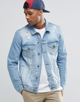 Asos Denim Jacket in Mid Wash With Rips
