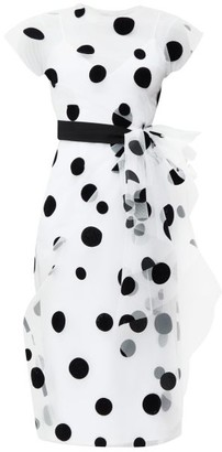 Carolina Herrera Bow-trim Flocked Polka-dot Tulle Dress - Womens - White Black