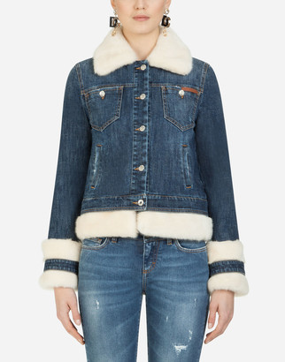 Dolce & Gabbana Denim Jacket With Faux Fur Details
