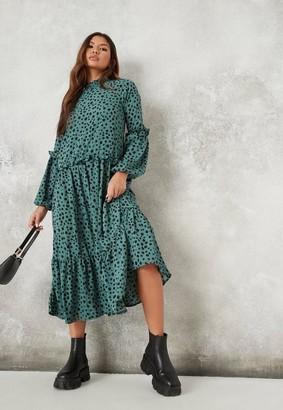 Missguided Green Leopard High Neck Midi Smock Dress