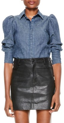 Alice + Olivia Jeans Willa Scrunched Puff-Sleeve Top