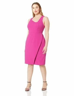 Betsey Johnson Women's Plus-Size Scuba Crepe Dress with Aysmmetrical Neckline