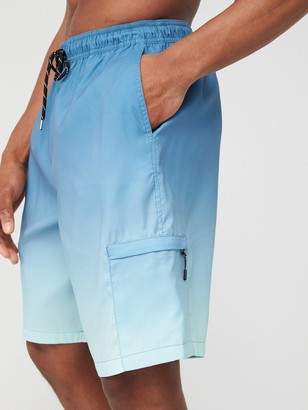 Very Man Ombre Long Swimming Shorts - Blue