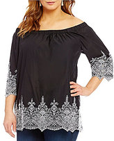 Chelsea & Theodore Plus Off the Shoulder Embroidered Hem Top