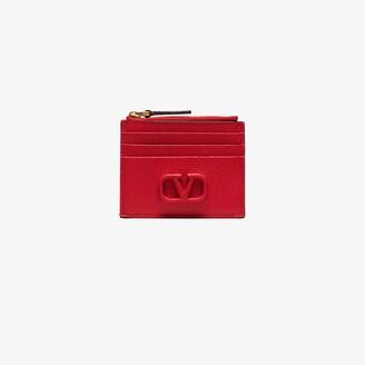 Valentino red VLOGO leather card holder